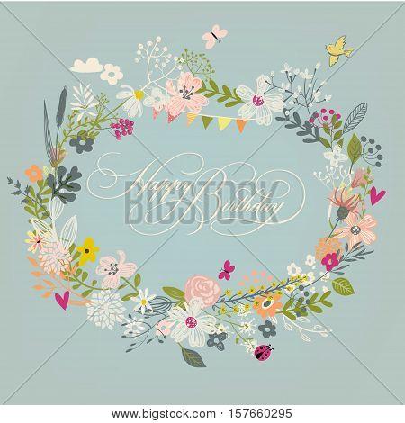 vintage doodle floral wreath - vector birthday frame