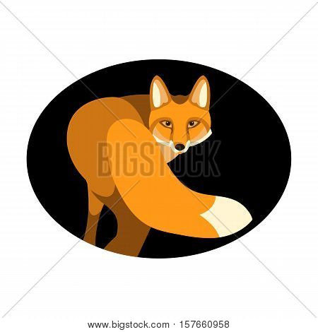red fox vector illustration style Flat side front