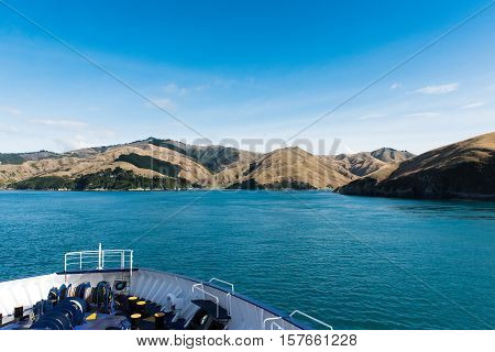 View of South Island, New Zealand from the ferry leaving Wellington