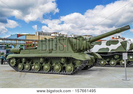 VERKHNYAYA PYSHMA RUSSIA - JUNE 11 2015: Self-propelled artillery installation ISU 152 - exhibit of the Museum of military equipment.