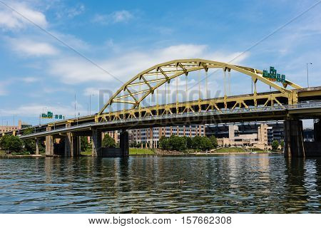 PITTSBURGH, PA - JULY 22 - Fort Duquesne bridge over the Allegheny River on July 22, 2016. The bridge is a double-decked bowstring arch bridge and located in Pittsburgh, Pennsylvania