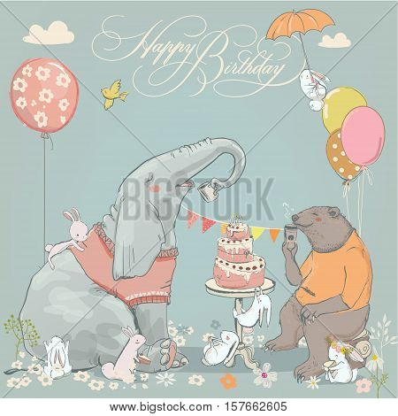 birthday card with cute bear, elephant and hares