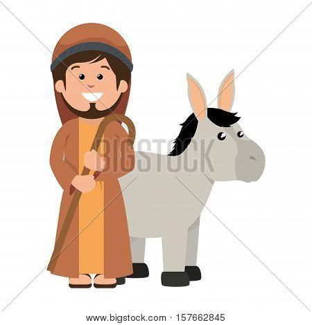 saint joseph with mule manger character vector illustration design