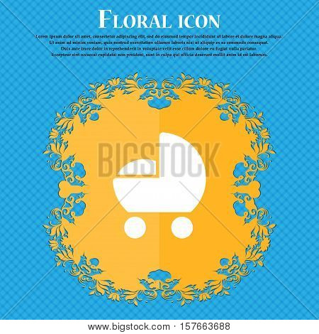 Baby Pram Icon Sign. Floral Flat Design On A Blue Abstract Background With Place For Your Text. Vect