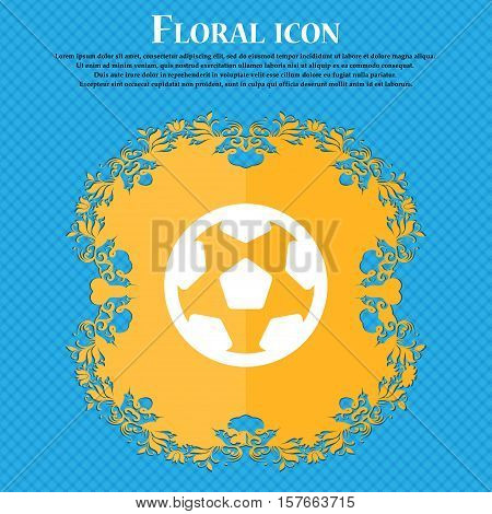 Football, Soccerball Icon Sign. Floral Flat Design On A Blue Abstract Background With Place For Your