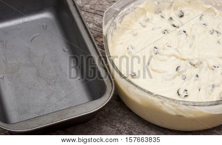 Mixing eggs and sugar with motor mixer for cake dough