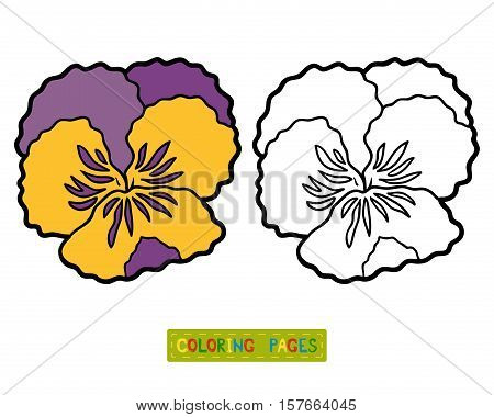 Coloring book for children, coloring page with flower Pansy