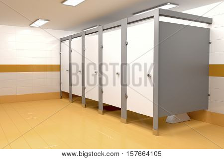 3D illustration of public toilet with orange colored tiles