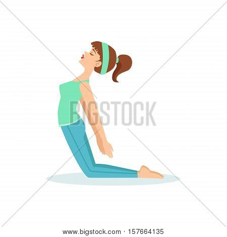 Camel Ustrasana Yoga Pose Demonstrated By The Girl Cartoon Yogi With Ponytail In Blue Sportive Clothing Vector Illustration. Part Of Collection Of Yoga Asana Postures Drawing With Young Woman In Training Outfit