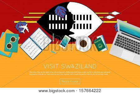 Visit Swaziland Concept For Your Web Banner Or Print Materials. Top View Of A Laptop, Sunglasses And