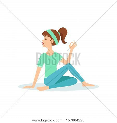 Half Twist Ardha Matsyendrasana Yoga Pose Demonstrated By The Girl Cartoon Yogi With Ponytail In Blue Sportive Clothing Vector Illustration. Part Of Collection Of Yoga Asana Postures Drawing With Young Woman In Training Outfit