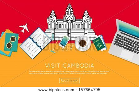 Visit Cambodia Concept For Your Web Banner Or Print Materials. Top View Of A Laptop, Sunglasses And