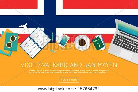 Visit Svalbard And Jan Mayen Concept For Your Web Banner Or Print Materials. Top View Of A Laptop, S
