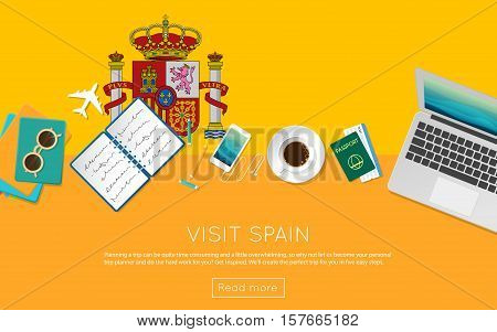 Visit Spain Concept For Your Web Banner Or Print Materials. Top View Of A Laptop, Sunglasses And Cof