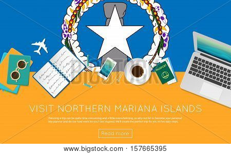 Visit Northern Mariana Islands Concept For Your Web Banner Or Print Materials. Top View Of A Laptop,