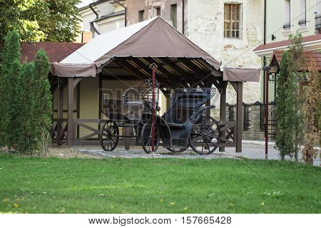 The Traditional horse carriage on natural background