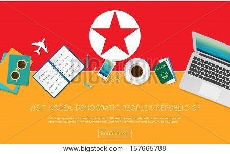 Visit Korea, Democratic People's Republic Of Concept For Your Web Banner Or Print Materials. Top Vie