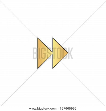 Fast forward Gold vector icon with black contour line. Flat computer symbol