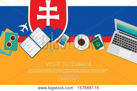 Visit Slovakia Concept For Your Web Banner Or Print Materials. Top View Of A Laptop, Sunglasses And