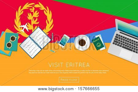 Visit Eritrea Concept For Your Web Banner Or Print Materials. Top View Of A Laptop, Sunglasses And C