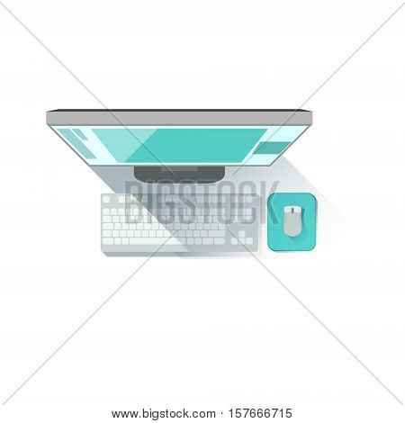 Computer Screen, Keyboard And Mouse Office Worker Desk Element Part Of Workplace Tools And Stationary Set Of Objects. Items For Fully Equipped Working Table Vector Illustration With View From Above.