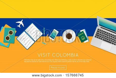 Visit Colombia Concept For Your Web Banner Or Print Materials. Top View Of A Laptop, Sunglasses And
