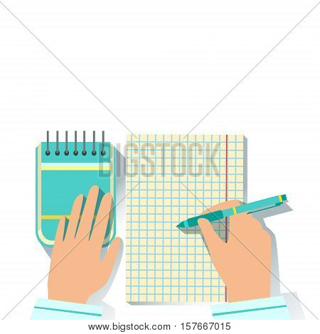 Notebook And Block Note Office Worker Desk Element Part Of Workplace Tools And Stationary Set Of Objects. Items For Fully Equipped Working Table Vector Illustration With View From Above.