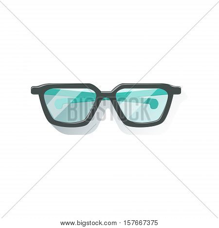 Glasses In Black Frame Office Worker Desk Element Part Of Workplace Tools And Stationary Set Of Objects. Items For Fully Equipped Working Table Vector Illustration With View From Above.
