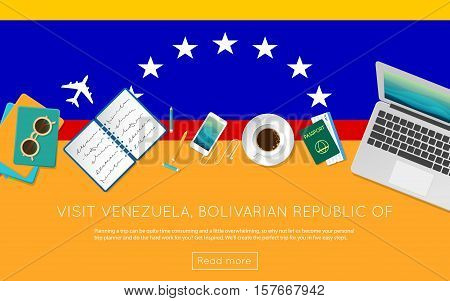 Visit Venezuela, Bolivarian Republic Of Concept For Your Web Banner Or Print Materials. Top View Of