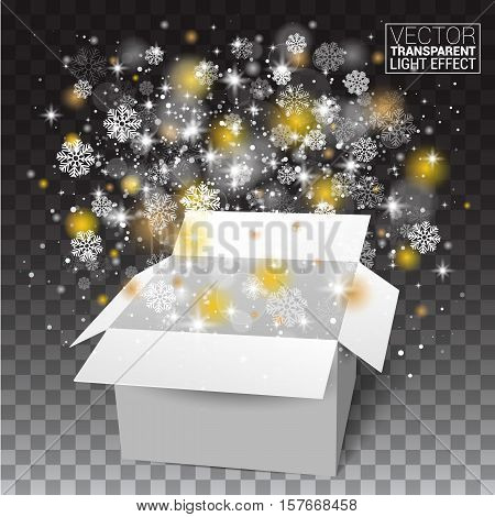 White Christmas Open box, snow and glitter falls from a gift box with a transparent background. Vector illustration.