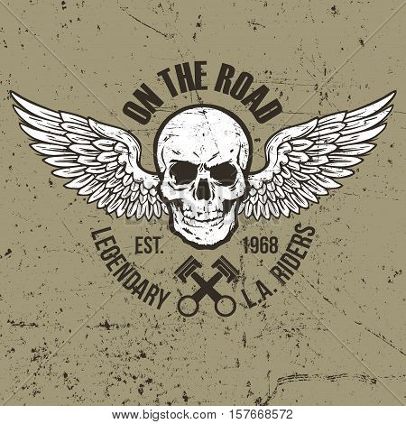 Vintage Skull Label Design. Easy to manipulate, re-size or colorize.