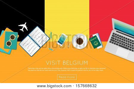 Visit Belgium Concept For Your Web Banner Or Print Materials. Top View Of A Laptop, Sunglasses And C