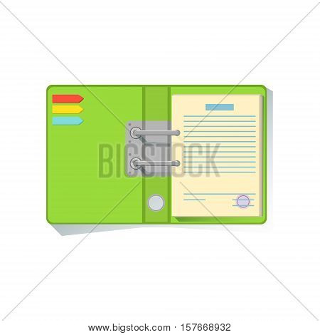 Notebook Organizer With Green Cover Office Worker Desk Element, Part Of Workplace Tools And Stationary Collection Of Objects. Items For Fully Equipped Working Table Vector Illustration With View From Above.