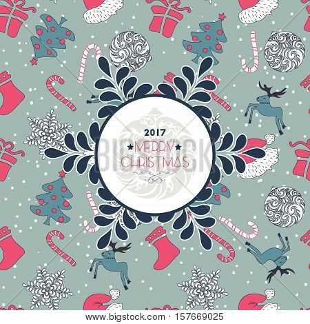 Abstract Cute Holiday Christmas Seamless Pattern And Wishes
