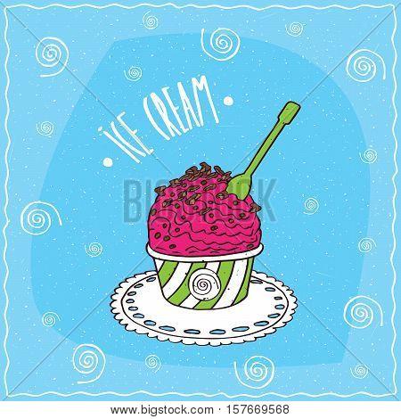 Fruit Scoop Of Ice Cream In Cup