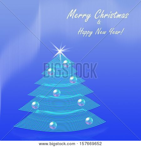 Christmas background stylised striped fir tree with star and Christmas balls decorated. Greetings postcard border or invitation