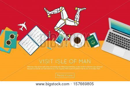Visit Isle Of Man Concept For Your Web Banner Or Print Materials. Top View Of A Laptop, Sunglasses A