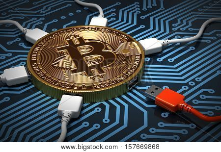 Red And White USB Wires Connected To The Bitcoin On Printed Circuit Board. 3D Illustration.