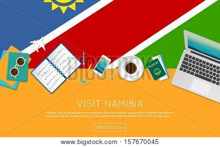 Visit Namibia Concept For Your Web Banner Or Print Materials. Top View Of A Laptop, Sunglasses And C