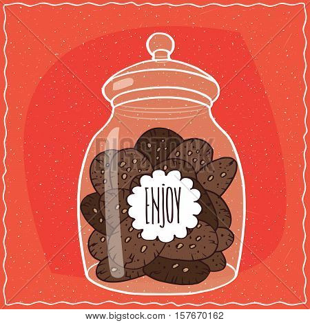 Glass Jar With Pile Of Chocolate Cookies Inside