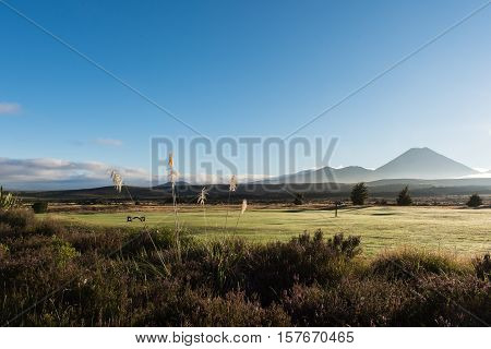 Landscape of Mount Tongariro in New Zealand