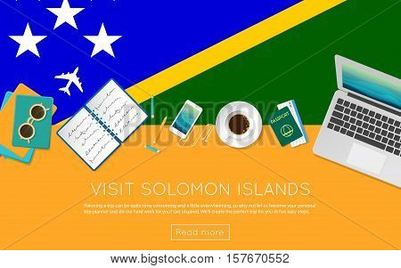 Visit Solomon Islands Concept For Your Web Banner Or Print Materials. Top View Of A Laptop, Sunglass