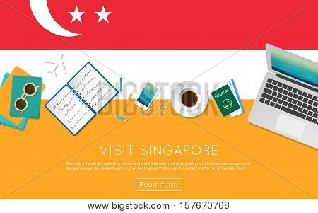Visit Singapore Concept For Your Web Banner Or Print Materials. Top View Of A Laptop, Sunglasses And