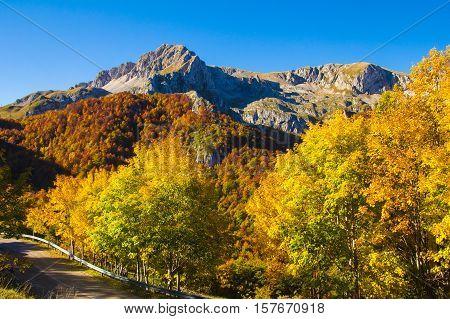 Panoramic road for the Terminillo mountain in Lazio
