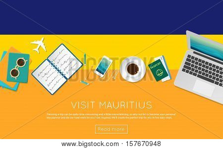 Visit Mauritius Concept For Your Web Banner Or Print Materials. Top View Of A Laptop, Sunglasses And