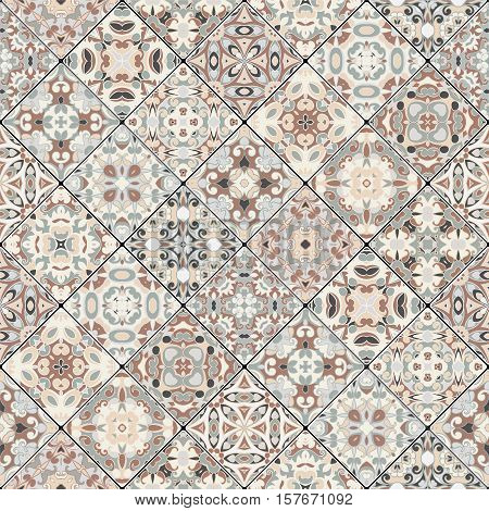 Abstract brown and beige patterns in the mosaic set. Square scraps in oriental style. Vector illustration. Ideal for printing on fabric or paper.
