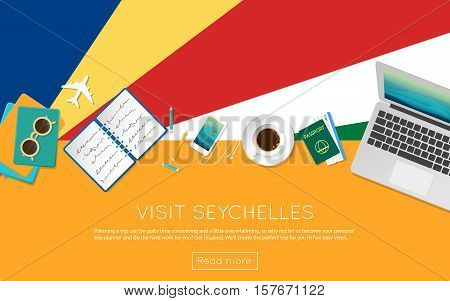 Visit Seychelles Concept For Your Web Banner Or Print Materials. Top View Of A Laptop, Sunglasses An