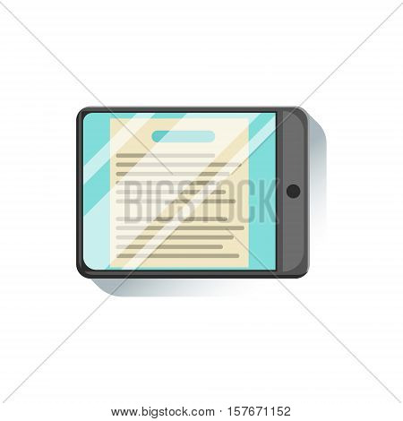 Tablet With Document To Read On Screen Office Worker Desk Element, Part Of Workplace Tools And Stationary Collection Of Objects. Items For Fully Equipped Working Table Vector Illustration With View From Above.