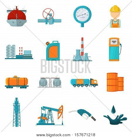 Oil industry set icons in cartoon style. Big collection of oil industry vector symbol stock