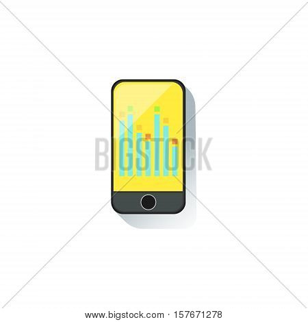 Smartphone With Graphic Chart On Screen Office Worker Desk Element, Part Of Workplace Tools And Stationary Collection Of Objects. Items For Fully Equipped Working Table Vector Illustration With View From Above.